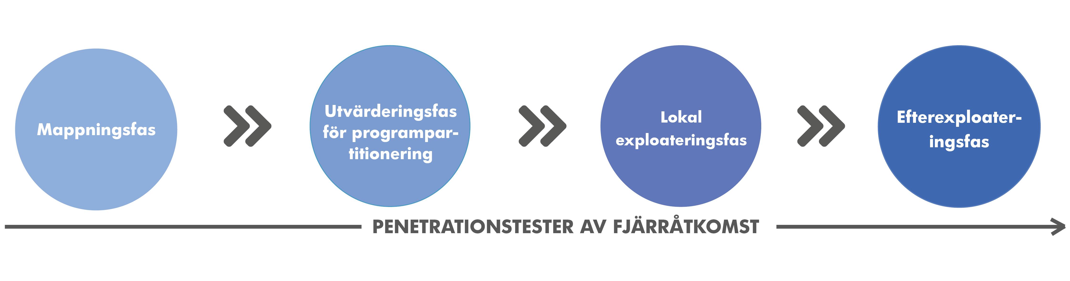 De olika stegen i ett företags-/fjärrstyrt penetrationstest